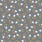 Lewis & Irene - Small Things Mythical & Magical - 5919- Rainbows on Charcoal - SM8.3 - Cotton Fabric